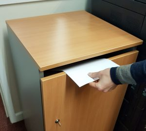 Shredding cabinet from Chudley Moving